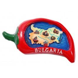 Сувенирна магнитна фигурка във формата на чушка - карта на България