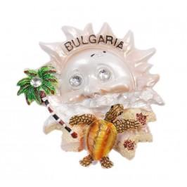 Сувенирна магнитна фигурка във формата на слънце с костенурка и палма