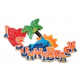 Сувенирна магнитна фигурка с брокат - делфин, слънце, палма и надпис - Аз ♥ Слънчев бряг
