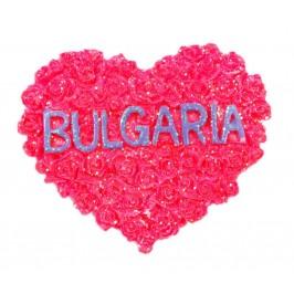 Сувенирна магнитна фигурка с брокат - сърце от рози и надпис България