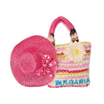 Сувенирна магнитна фигурка - плажна чанта и шапка