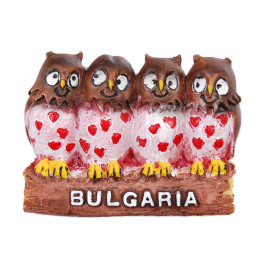 Релефна магнитна фигурка - птици на клон с надпис България
