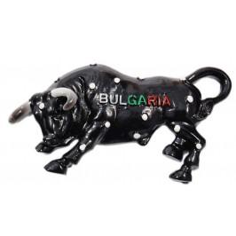 Сувенирна магнитна фигурка - бик с бели точки и надпис България