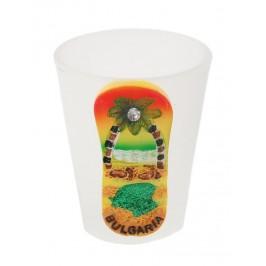 Сувенирна чаша за шот с фигурка - джапанка с морски мотиви и надпис България