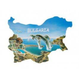 Сувенирна релефна магнитна пластинка - морски изглед - контури на България