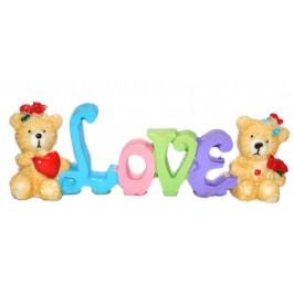 Сувенирна фигурка - влюбени мечета с надпис Love