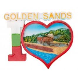 Сувенирна магнитна фигурка с надпис - Аз ♥ Златни пясъци - плажове и хотели