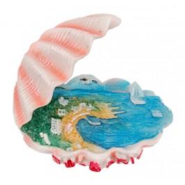 Релефна магнитна фигурка във формата на отворена мида - с морски изглед и надпис България