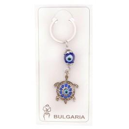 Сувенирен ключодържател с фигурка - костенурка и сини очи