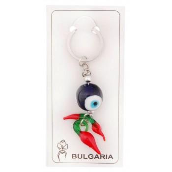 Сувенирен ключодържател със стъклени фигурки - синьо око и чушки