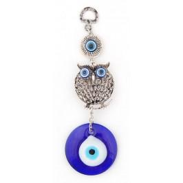 Сувенирна фигура за окачване - стъклени сини очи /назар/ и бухал