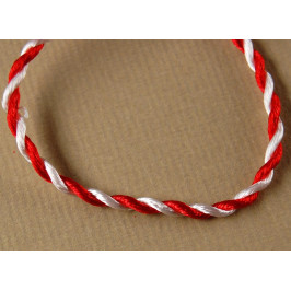 Мартеница - връзка усукани копринени конци в бяло и червено - 20см