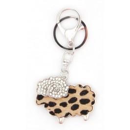 Ключодържател във формата на овца, декорирана с камъчета