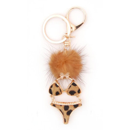 Ключодържател във формата на бельо, декорирано с пухче