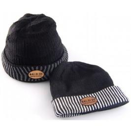 Двуцветна плетена мъжка зимна шапка