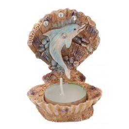Сувенирна фигурка - свещник във формата на отворена мида с делфин