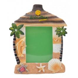 Сувенирна рамка за снимки във формата на къщичка с палми и морски мотиви - България