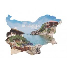 Сувенирна магнитна пластинка - брегове и български къщи - контури на България