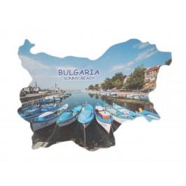 Сувенирна магнитна пластинка - лодки, Слънчев бряг - контури на България