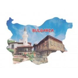 Сувенирна магнитна пластинка - двореца в Балчик и стара къща - контури на България