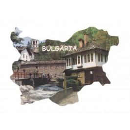 Сувенирна магнитна пластинка - стари български къщи - контури на България