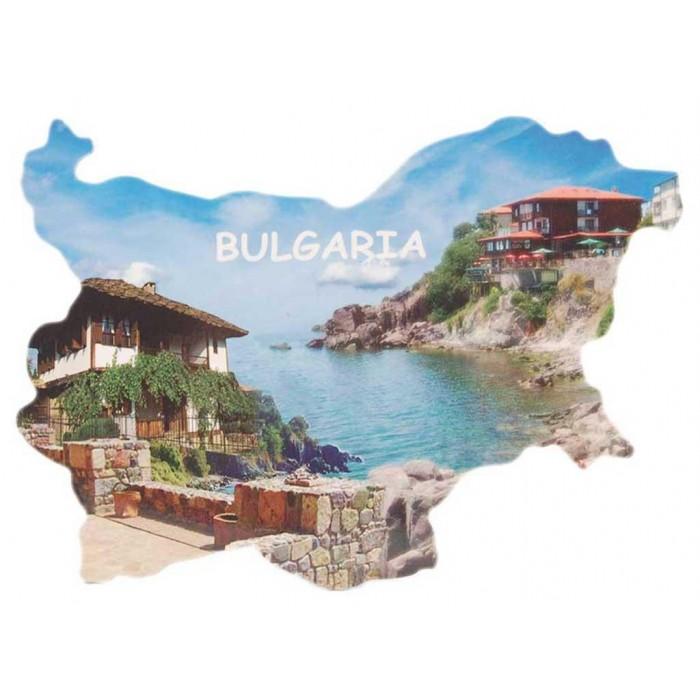 Сувенирна магнитна пластинка - бряг със стари къщи - контури на България