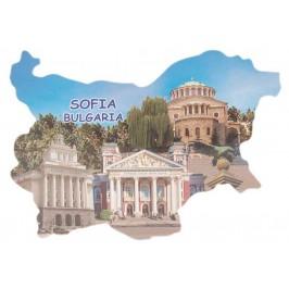 Сувенирна магнитна пластинка - забележителности в София - контури на България