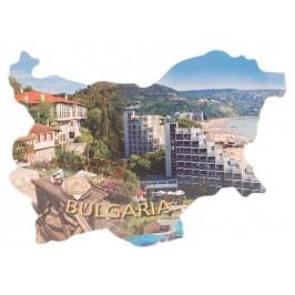 Сувенирна магнитна пластинка - плажове, хотели и български къщи - контури на България