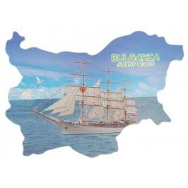 Сувенирна магнитна пластинка - ветроходен кораб, Слънчев бряг - контури на България