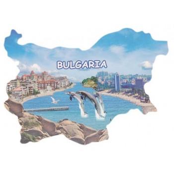 Сувенирна магнитна пластинка - плажове с хотели и делфини - контури на България