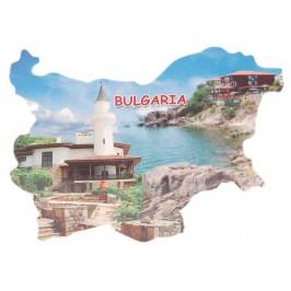 Сувенирна магнитна пластинка - двореца в Балчик и стара къща на брега - контури на България