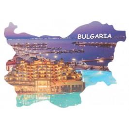 Сувенирна магнитна пластинка - кейове и хотел, нощна снимка - контури на България