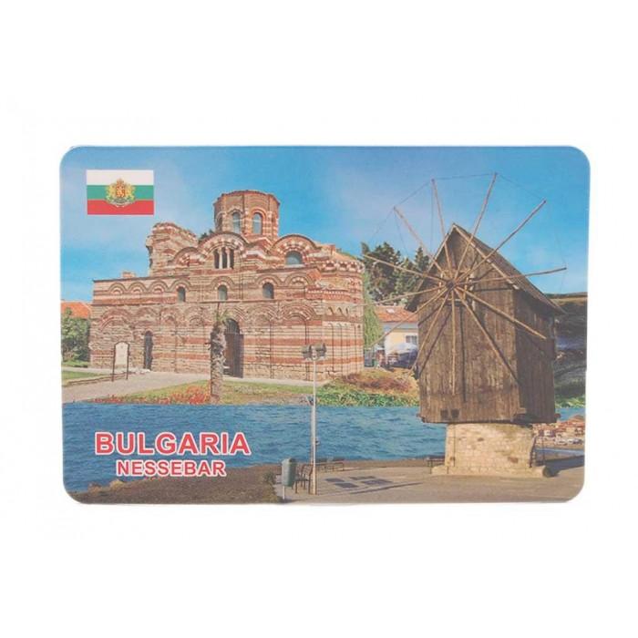 Сувенирна магнитна пластинка - старата мелница и църквата