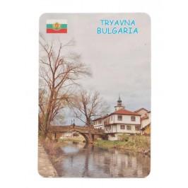 Сувенирна магнитна пластинка - часовниковата кула и моста в Трявна