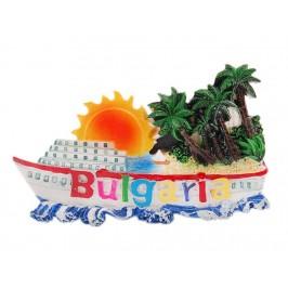 Магнитна релефна фигурка във формата на пасажерски кораб с палми и слънце