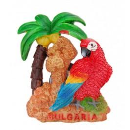 Сувенирна магнитна фигурка във формата на папагал с палма - България