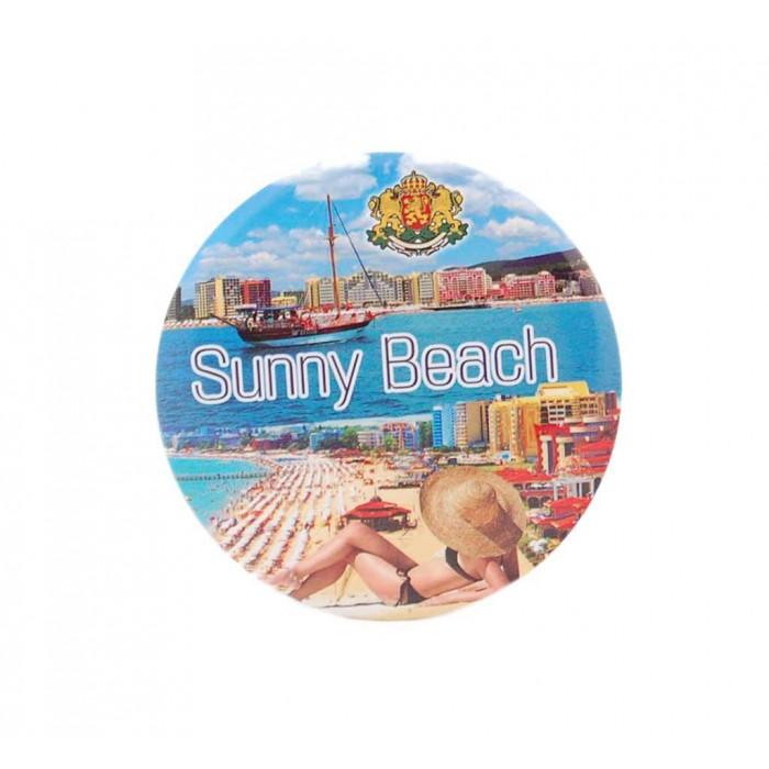 Сувенирна метална значка - забележителности в Слънчев бряг