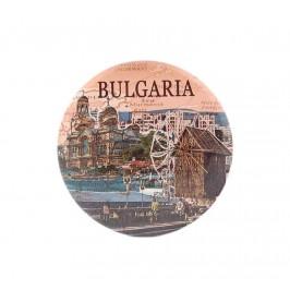 Сувенирна метална значка - забележителности в България - катедралата във Варна и старата мелница в Несебър, България