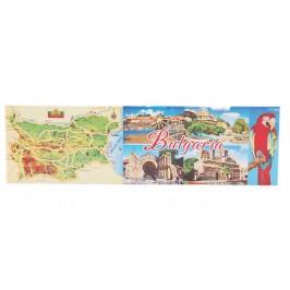 Неогъваща се продълговата магнитна пластинка - карта на България, забележителности по Българското Черноморие и папагал