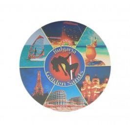 Кръгла магнитна пластинка с лазерна графика - забележителности във Варна и Златни пясъци