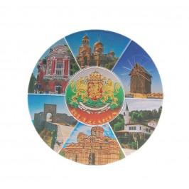 Кръгла магнитна пластинка с лазерна графика - забележителности по Българското Черноморие