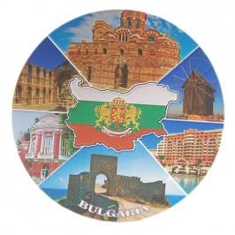 Кръгла магнитна пластинка с лазерна графика - забележителности във Варна и Несебър