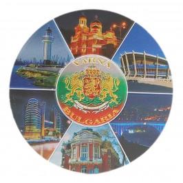 Кръгла магнитна пластинка с лазерна графика - забележителности във Варна