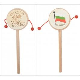 Сувенирно барабанче на дървен постамент - българското знаме и делфин с надпис България