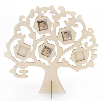Дървен сувенир във формата на дърво - рамка за 5бр