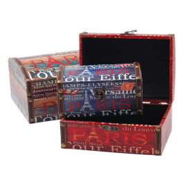 Комплект от 3бр. дървени кутии с рамка от изкуствена кожа и цветен принт