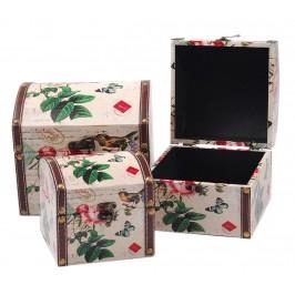 Комплект от три броя дървени кутии с рамка от изкуствена кожа и цветен принт