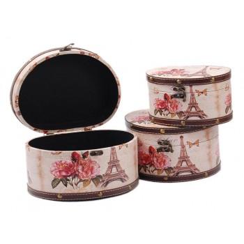 Комплект от 3 броя дървени кутии с рамка в цветен принт