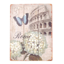 Ретро картина - забележителност на известен град, цветя и пеперуда