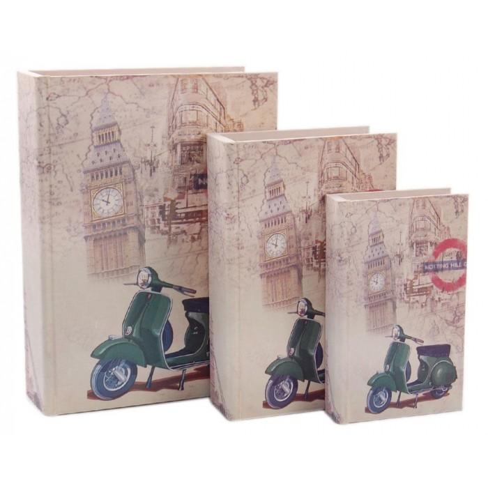 Комплект от 3 броя дървени кутии - книги в ретро стил